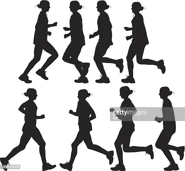 woman runner - multiple image stock illustrations, clip art, cartoons, & icons