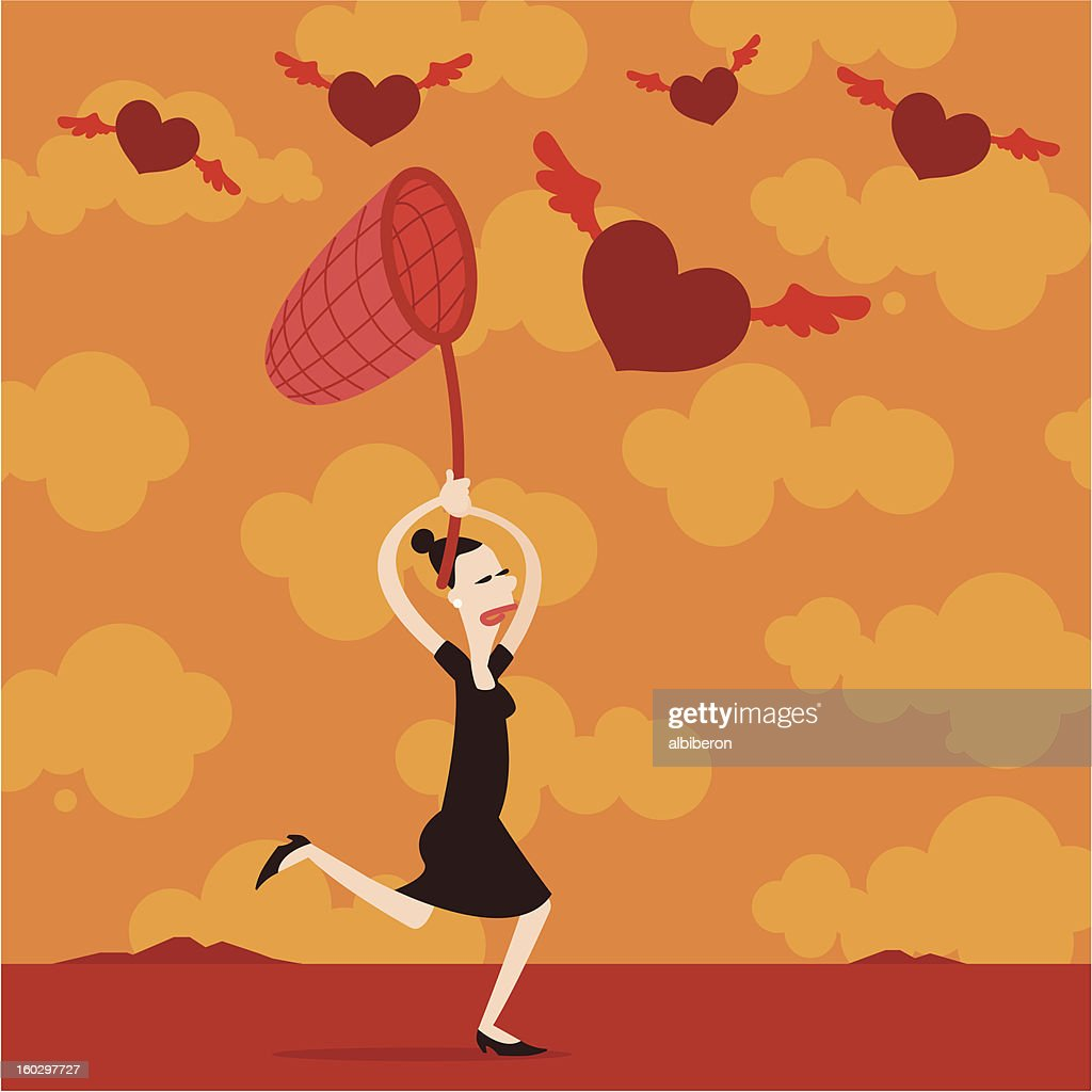 Woman Running after Love