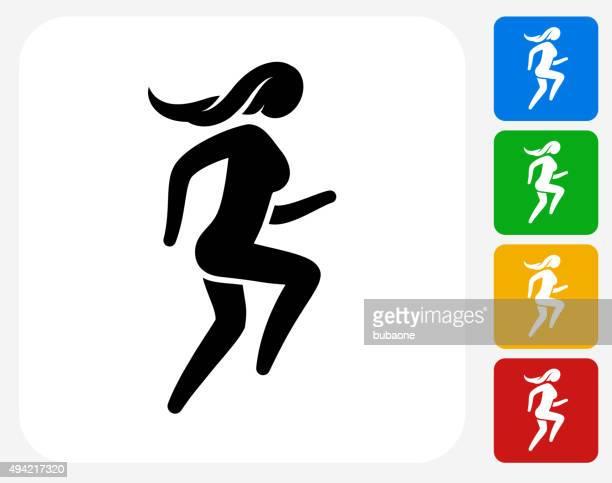 Woman Running Icon Flat Graphic Design