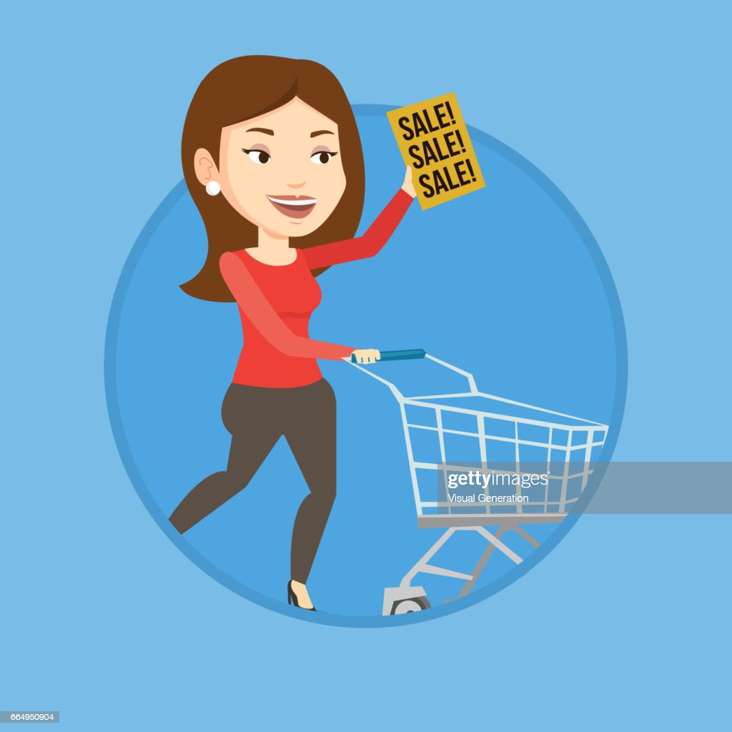 Woman running in hurry to the store on sale