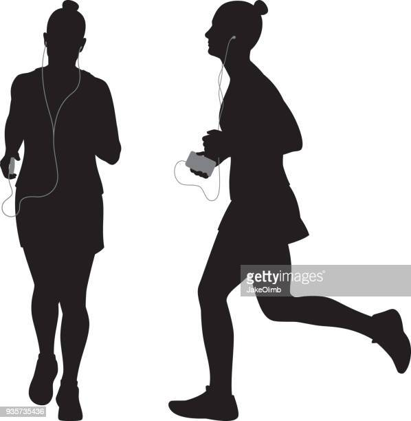 Woman Running with Smartphone Silhouettes