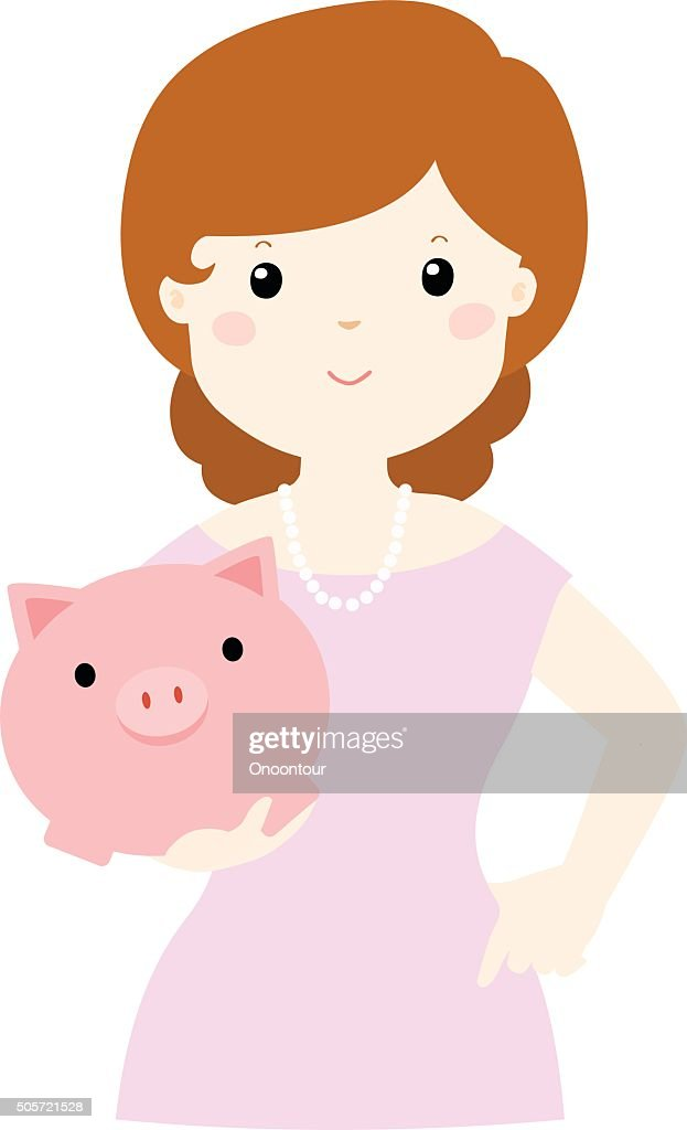 woman save money in piggy bank vector