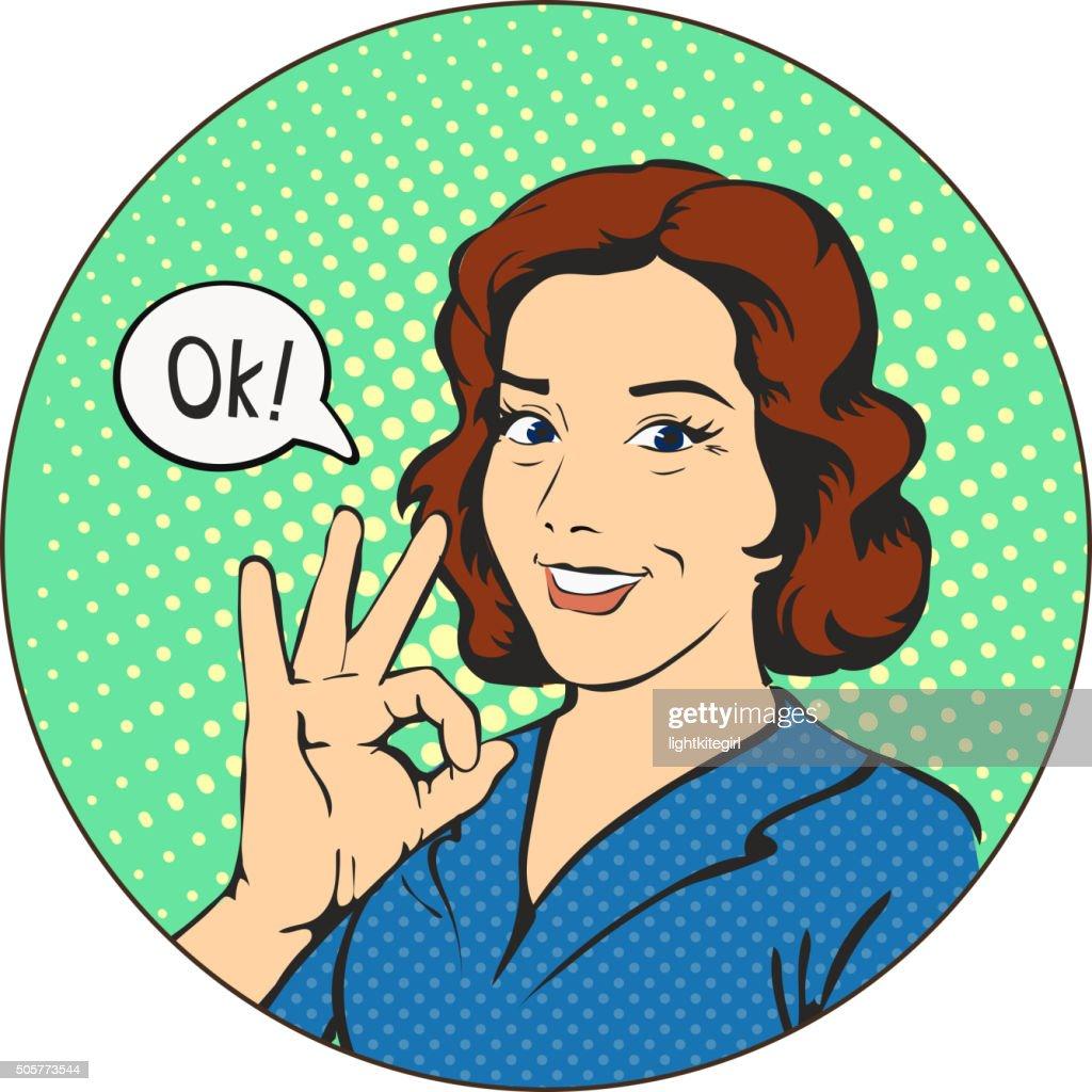 Woman says okay  in the circle  pop art comics retro