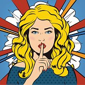 Woman says Shh for silence. Comics style. It's a secret!