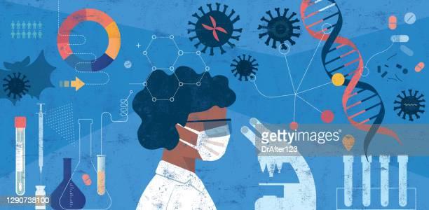 illustrazioni stock, clip art, cartoni animati e icone di tendenza di donna scienziata ricerca covid-19 concetto - ricerca