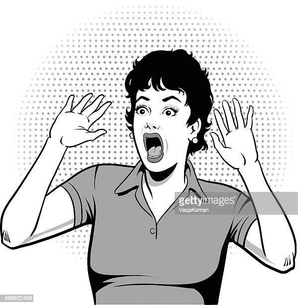 ilustraciones, imágenes clip art, dibujos animados e iconos de stock de mujer pateando hysterically-blanco y negro - tirarse de los pelos