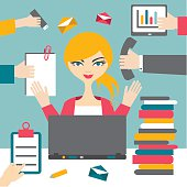 Woman secretary hard working. Busy business woman.