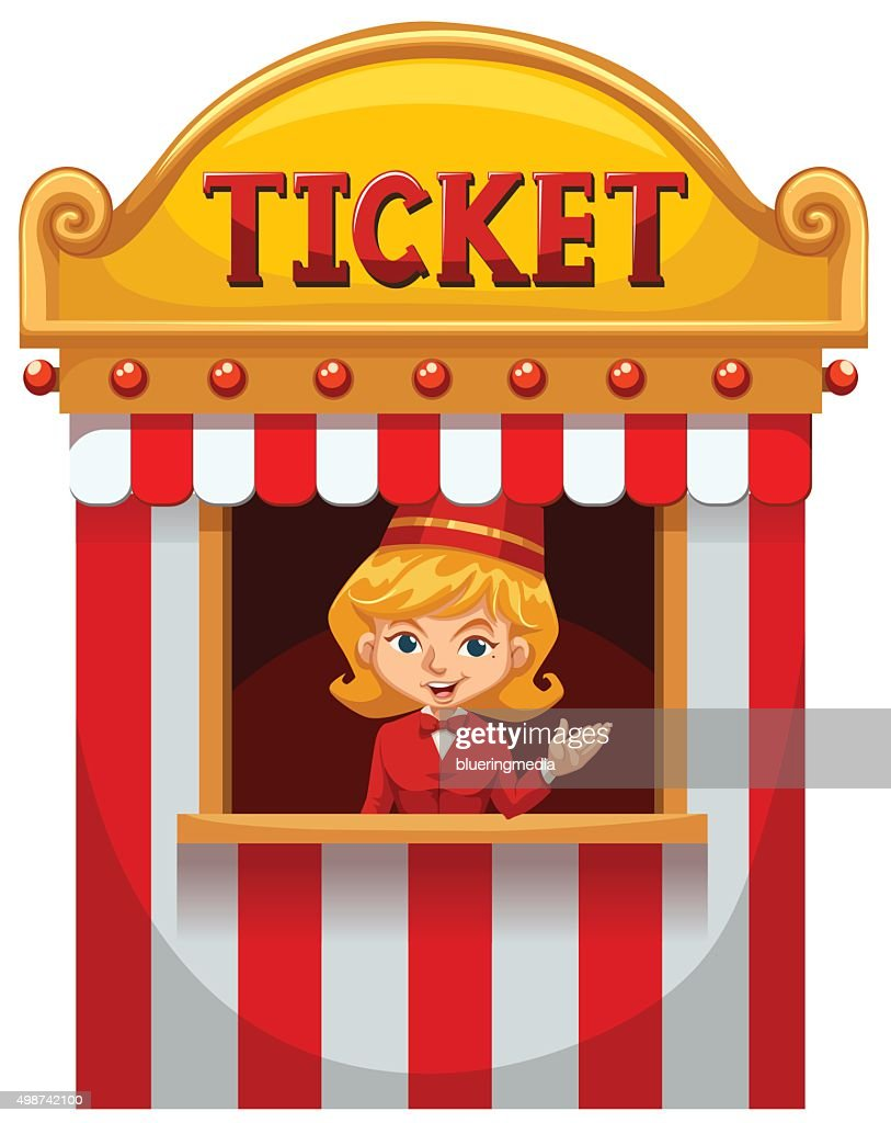Woman selling ticket  booth
