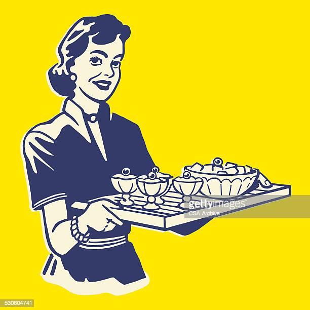 Woman Serving Dessert