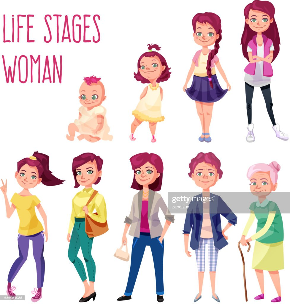Woman set in different ages