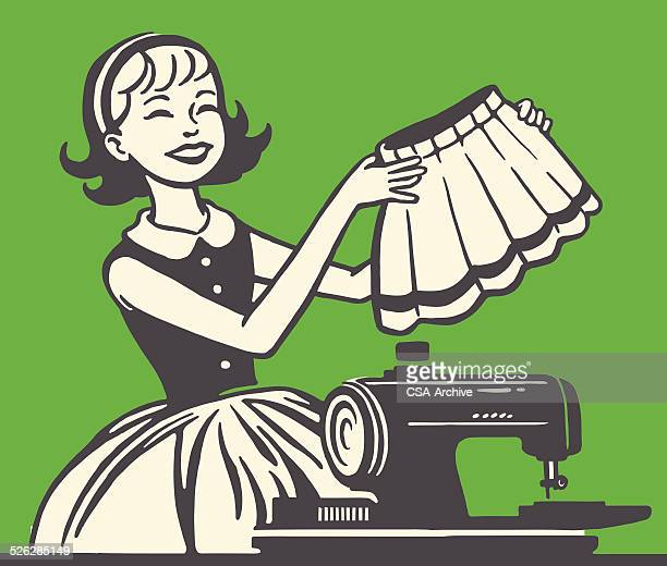 woman sewing a skirt - sewing machine stock illustrations, clip art, cartoons, & icons