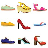 Woman Shoes Set. Colorful Shoes in Cartoon Style for Banners and Fliers of Shops. Vector Illustration of Diffrent Types of Shoes