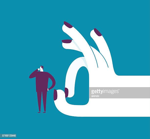 woman shoots with her finger off a man - arrogance stock illustrations