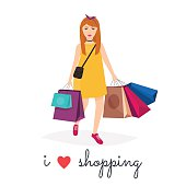 Woman shopping and holding bags. I love shopping. Fashion Shoppi