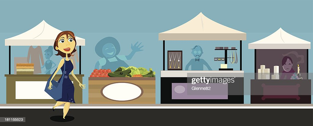 woman shopping at outdoor market : stock illustration
