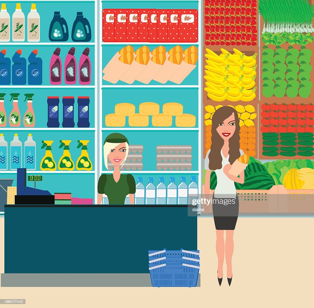 Woman shopping in grocery store. Customer market, sale supermark