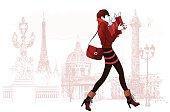 Woman shopping in Paris