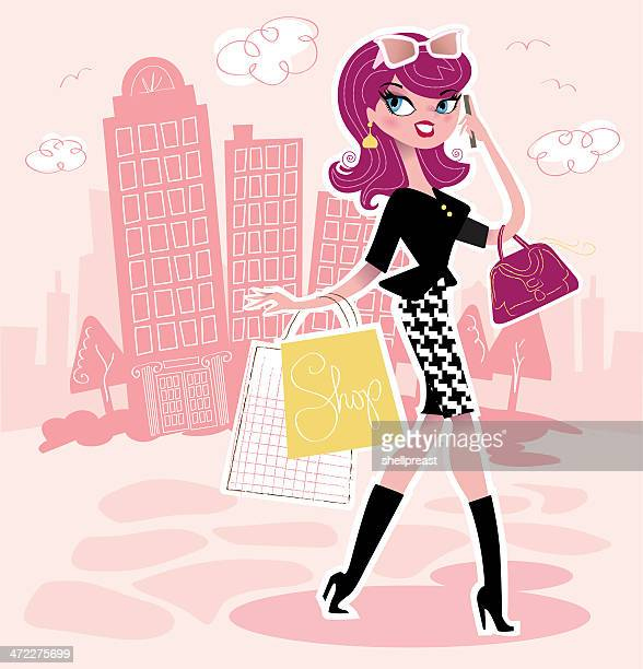 woman shopping in the city - pink purse stock illustrations