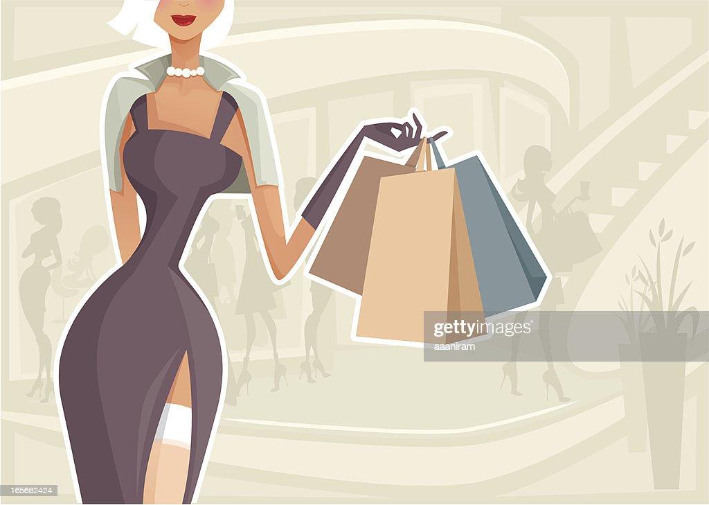 Woman Shopping : stock illustration