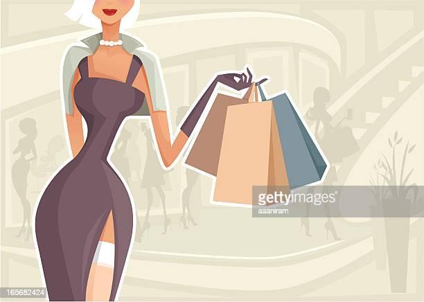 ilustraciones, imágenes clip art, dibujos animados e iconos de stock de mujer de compras - glamour