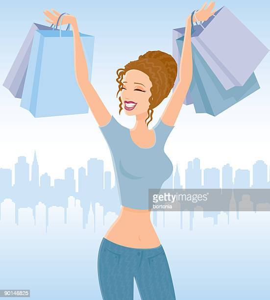 女性のショッピング - clip art点のイラスト素材/クリップアート素材/マンガ素材/アイコン素材
