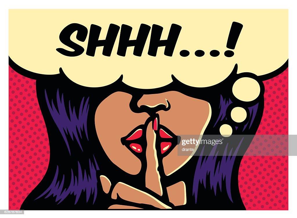 Woman silence gesture finger on lips pop art vector illustration
