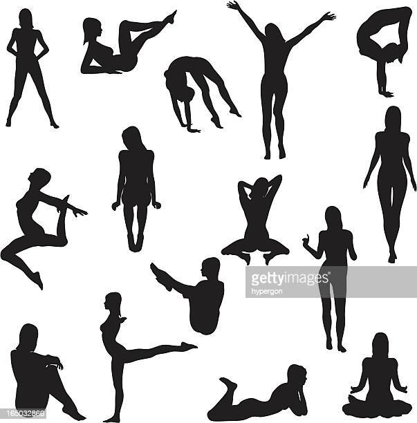 ilustraciones, imágenes clip art, dibujos animados e iconos de stock de mujer de silueta collection (vector jpg - mujer desnuda