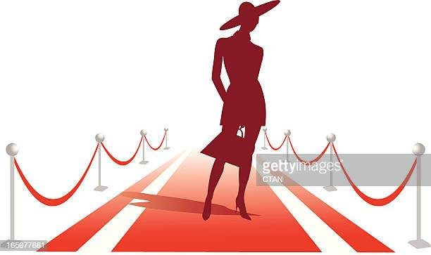 woman silhouette on red carpet