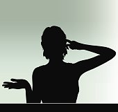 woman silhouette with hand gesture think