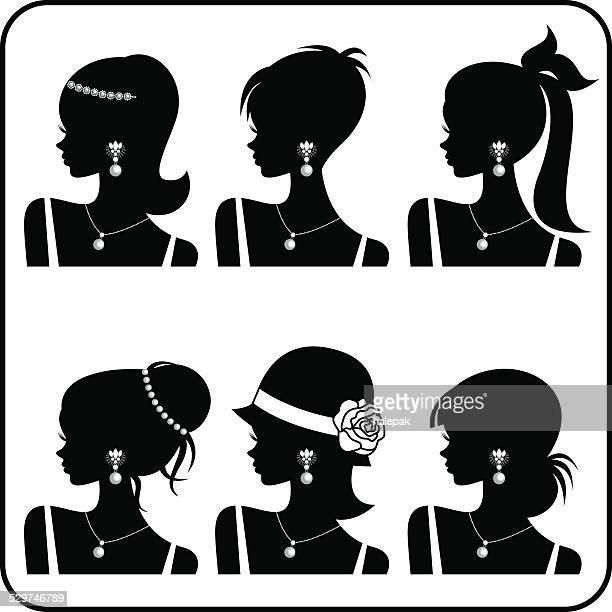 woman silhouette-black- illustration - necklace stock illustrations, clip art, cartoons, & icons