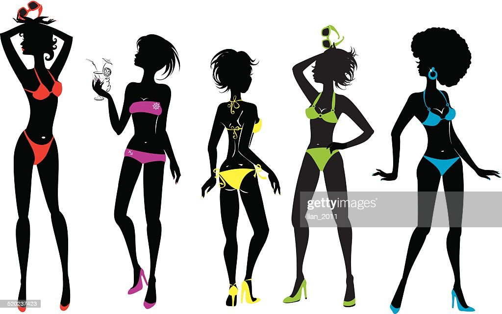 Woman silhouettes in different colors bikini swimwear isolated on white