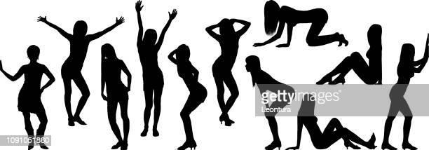 ilustraciones, imágenes clip art, dibujos animados e iconos de stock de siluetas de mujer - masturbacion
