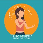 woman singing isolated icon design