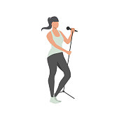 Woman singing with mic flat icon