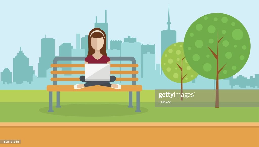 Woman sitting in a park, holding lap top on her lap. Social network concept. Flat vector illustration