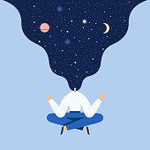 Woman sitting in yoga lotus pose. Night starry sky and moon in hair, space exploring, universal harmony. Vector flat illustration.