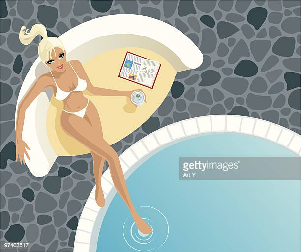woman sitting near pool with drink and magazine - beautiful woman stock illustrations