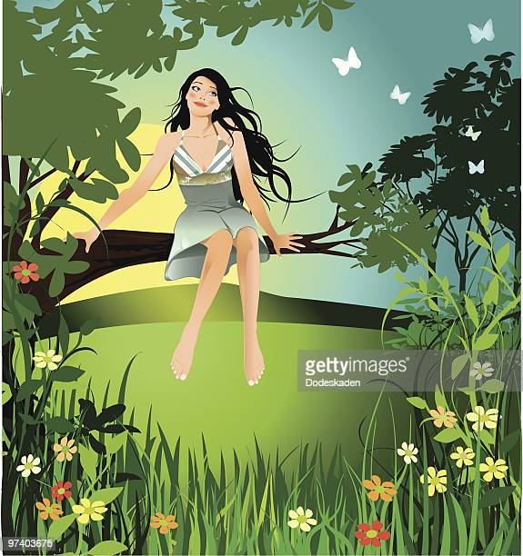 Woman Sitting on Branch in Field with Butterflies and Flowers