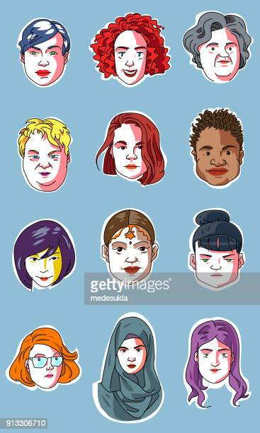 woman sketch portrait vector face - fat female cartoon characters stock illustrations