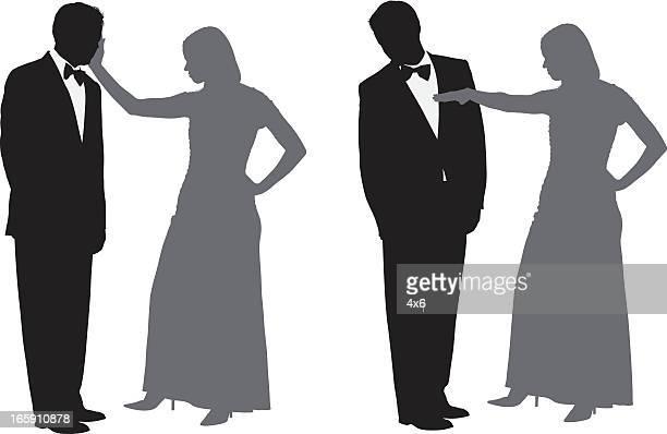 woman slapping a man - slapping stock illustrations, clip art, cartoons, & icons