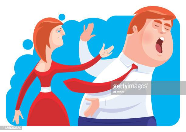 woman slapping businessman - slapping stock illustrations