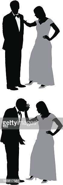 woman slapping her husband - slapping stock illustrations, clip art, cartoons, & icons