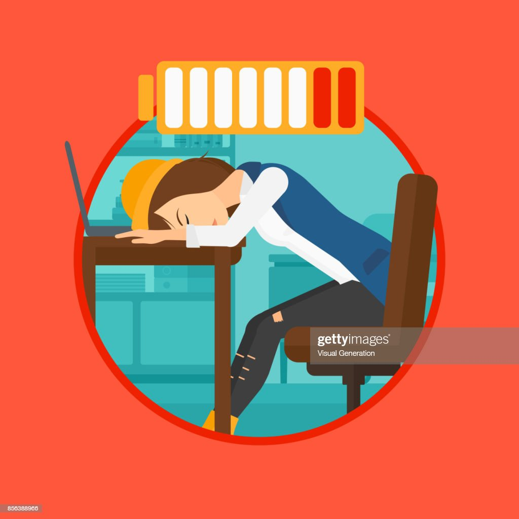 Woman sleeping at workplace