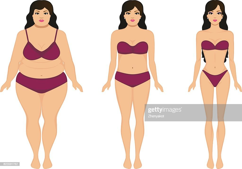 Woman slimming, fat slim girl, female weight loss