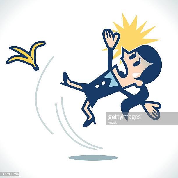 woman slipping on a banana skin - slapping stock illustrations, clip art, cartoons, & icons