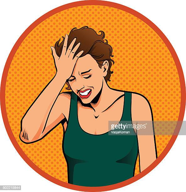woman smacking her forehead - slapping stock illustrations, clip art, cartoons, & icons
