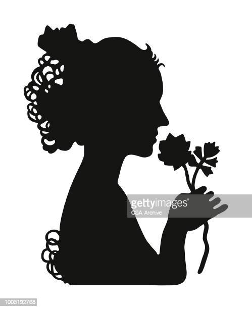 woman smelling a flower - updo stock illustrations, clip art, cartoons, & icons