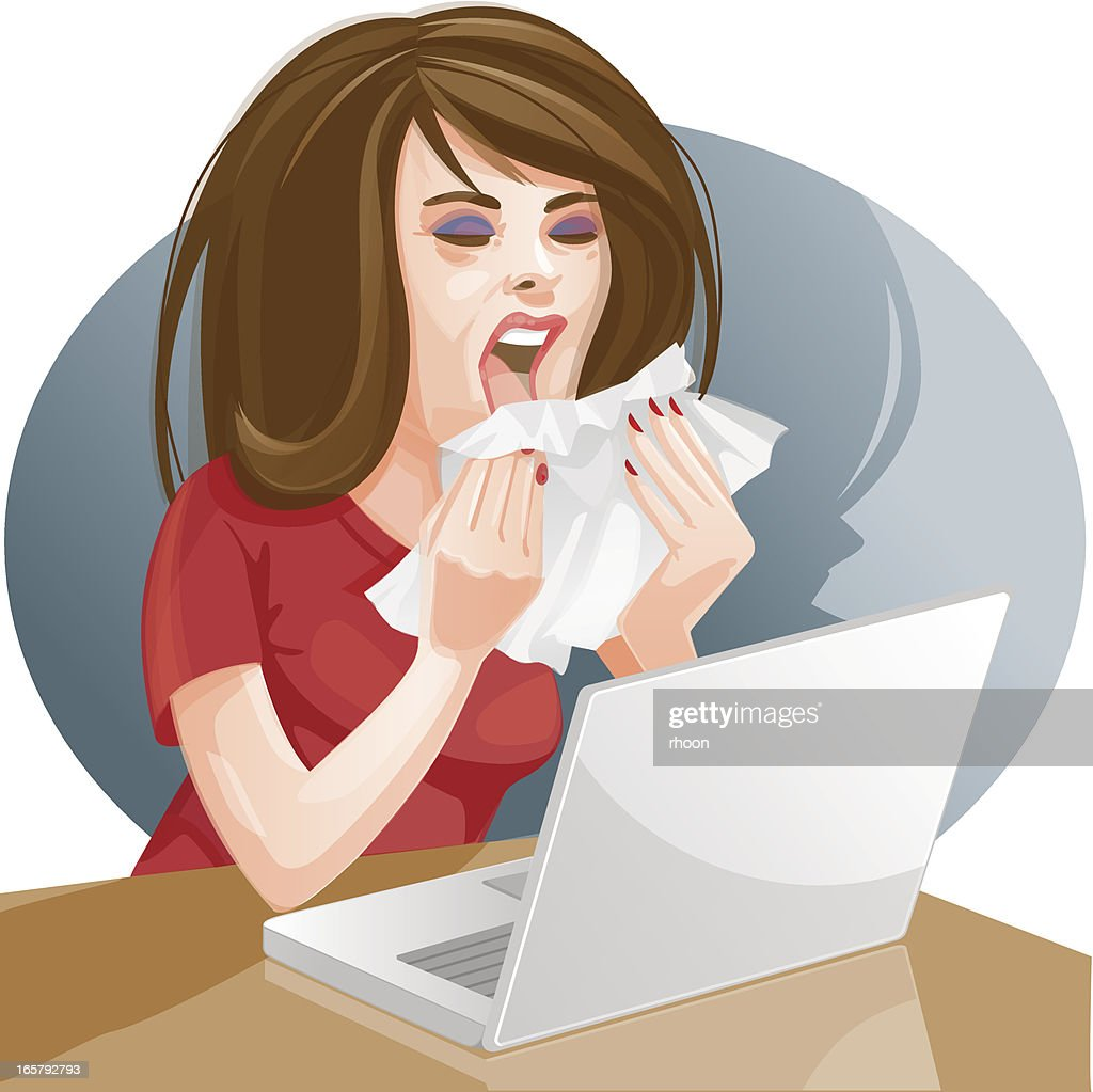 Woman sneezing at her desk : stock illustration