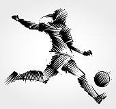 Woman soccer player kicking the ball