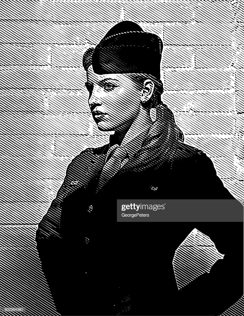 US Woman Soldier Looking Confident and Empowered : stock illustration